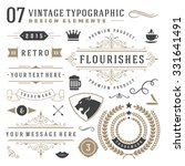 Retro vintage typographic design elements. Arrows, labels, ribbons, logos symbols, crowns, calligraphy swirls, ornaments and other.  | Shutterstock vector #331641491