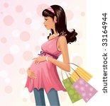 pregnant shopper | Shutterstock .eps vector #33164944