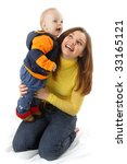 mother play with her son - stock photo