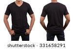 asian man wearing blank black t ... | Shutterstock . vector #331658291