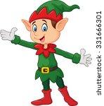cute green elf waving hand.... | Shutterstock .eps vector #331666301