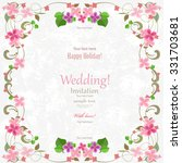 wedding card with flowers for... | Shutterstock .eps vector #331703681
