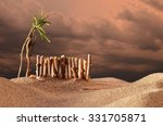 Small photo of Fantasy landscape with fence and dark gloomy reddish clouds/Before the thunderstorm/Scary and calamitous atmosphere