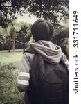 tourist with a backpack standing | Shutterstock . vector #331711649