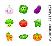 kawaii vegetables icons or... | Shutterstock .eps vector #331720625