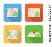 flat navigation icons with long ...