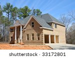 Large New Two Story House Construction - stock photo
