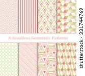 set of 8 seamless geometric... | Shutterstock .eps vector #331744769