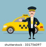 taxi driver. yellow taxi | Shutterstock .eps vector #331756097