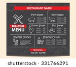 restaurant bbq steak menu design   Shutterstock .eps vector #331766291