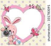 Cute Cartoon Rabbit With A...