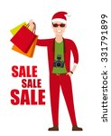 young man in santa costume with ...   Shutterstock .eps vector #331791899