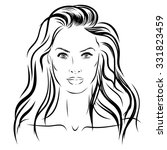 beautiful woman face hand drawn ... | Shutterstock . vector #331823459