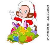monkey with a sack of gifts.... | Shutterstock .eps vector #331828505