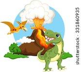Постер, плакат: Cute tyrannosaurus and