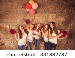 happy pretty girls holding... | Shutterstock . vector #331882787