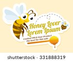 Honey Lover Label With Bees ...