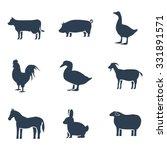 farm animals silhouettes  icon... | Shutterstock . vector #331891571