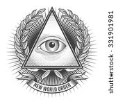 all seeing eye in delta triangle | Shutterstock . vector #331901981