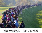 several thousand refugees are... | Shutterstock . vector #331912505