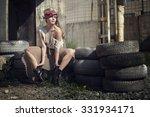 the girl in a beautiful dress... | Shutterstock . vector #331934171