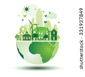 green city with green eco earth ... | Shutterstock .eps vector #331937849