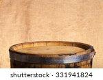Barrel Of Wine On Burlap...