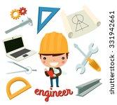engineer kid with tools. vector ... | Shutterstock .eps vector #331942661