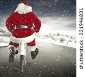 red santa claus bike and road  | Shutterstock . vector #331946831