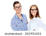 happy young people in glasses... | Shutterstock . vector #331951421