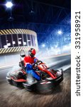 two kart racers are racing on... | Shutterstock . vector #331958921