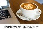 hot art latte coffee in a cup... | Shutterstock . vector #331960379