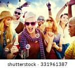 teenagers friends beach party... | Shutterstock . vector #331961387