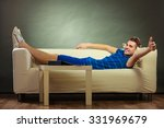 young happy man relaxing on... | Shutterstock . vector #331969679