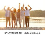 young people with beer on the... | Shutterstock . vector #331988111