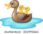 cartoon ducks on the pond... | Shutterstock . vector #331993661