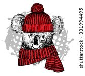 vector koala in a red hat and... | Shutterstock .eps vector #331994495