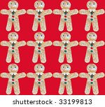gingerbread men design on red background - stock photo