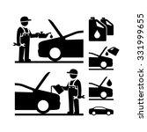 car mechanic changing motor oil ...   Shutterstock .eps vector #331999655