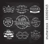 hand drawn happy thanksgiving... | Shutterstock .eps vector #332002415