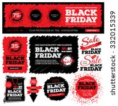 set of black friday sale. black ... | Shutterstock .eps vector #332015339