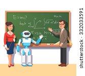 modern robot helping teachers... | Shutterstock .eps vector #332033591