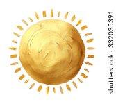 abstract hand painted golden... | Shutterstock . vector #332035391