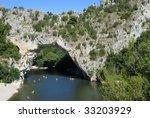 Famous place in Ardeche, France. Vallon Pont d'Arc - stock photo