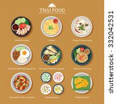 vector set of thai food flat... | Shutterstock .eps vector #332042531