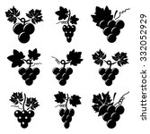 vector black and white icons of ... | Shutterstock .eps vector #332052929