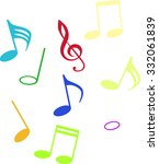 colored musical notes and...   Shutterstock .eps vector #332061839