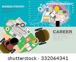 set of flat design illustration ... | Shutterstock .eps vector #332064341