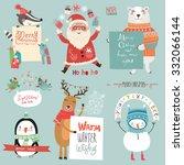 christmas set | Shutterstock .eps vector #332066144