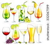vector collection of cocktails... | Shutterstock .eps vector #332067599